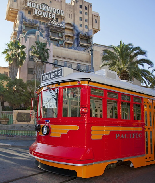 Red Car Trolley Tests the Track at Disney California Adventure Park weee cant wait!!