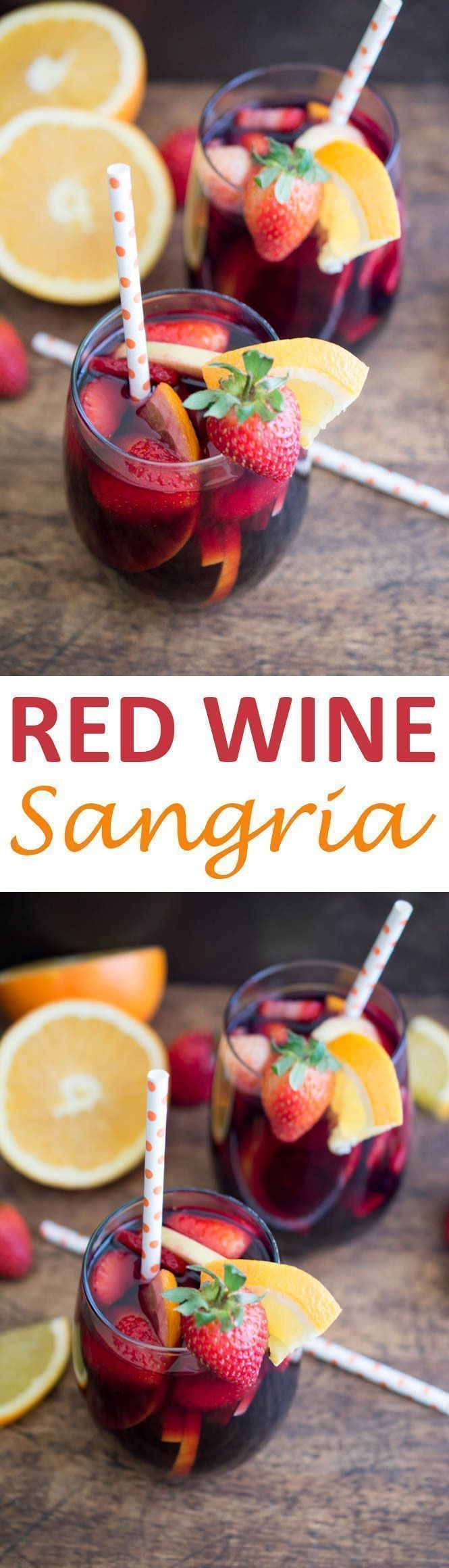 Simple and Fruity Red Wine Sangria. Made with fresh fruit, red wine, brandy and pomegranate juice. Perfect Fall or Winter cocktail. | chefsavvy.com #recipe #cocktail #drink #beverage #sangria #fruit #red #wine
