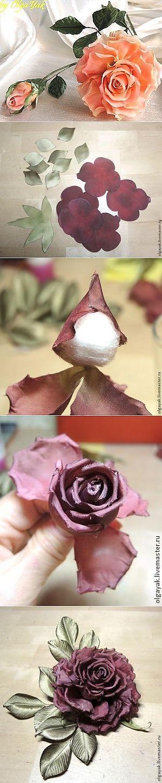 Роза из ткани. Простая, но эффектная..