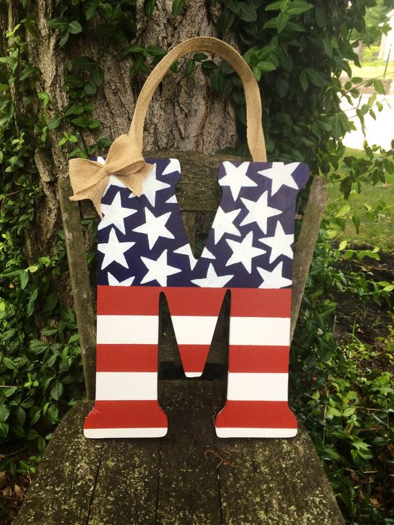 American Flag Wooden Letter By Beccafayeee On Etsy Etsy