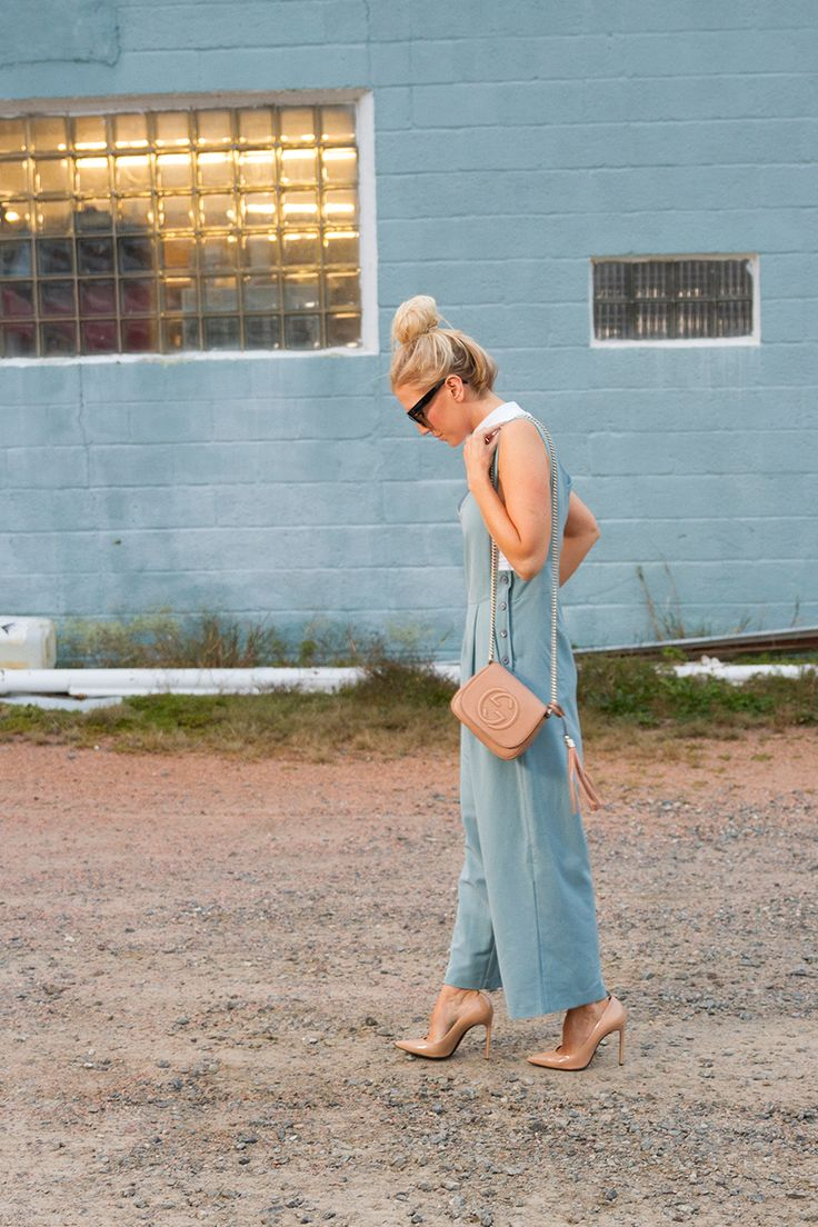 Pale blue jumper and nude pumps on The Boyish Girl