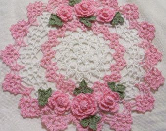 pink roses crocheted doily home decor handmade in USA by Aeshagirl