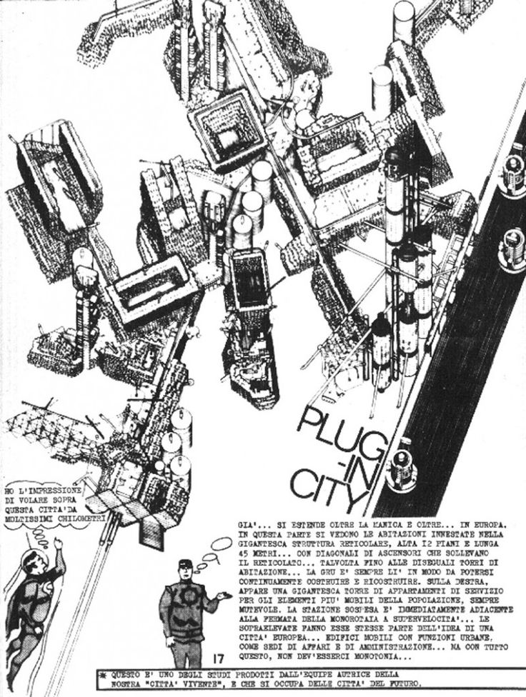 Figure 4: Peter Cook (Archigram), Plug-in City, Overhead View, (Axonometric) 1964. Image supplied by the Archigram Archives © 2014