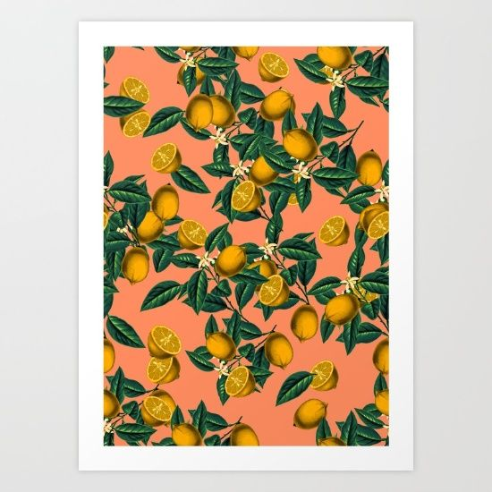 Lemon and Leaf Art Print