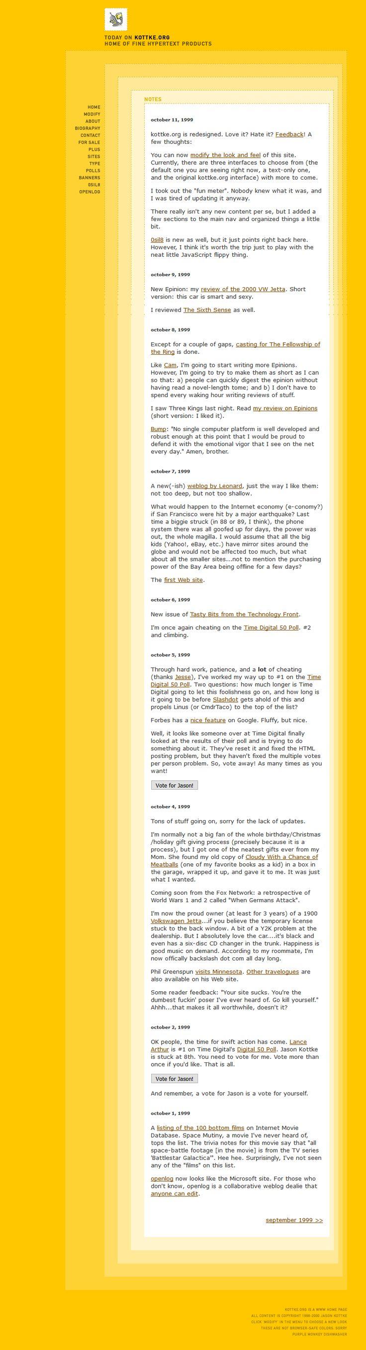 Jason Kottke website in 1999