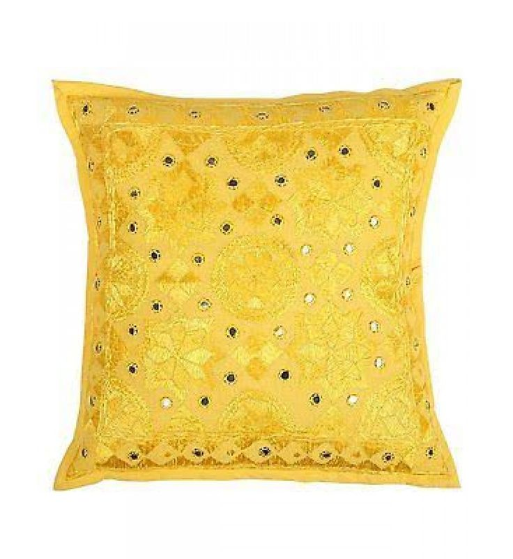 Yellow Mirror Embroidered Decorative Sofa Bohemian Pillow Cushion Throw Cover  16*