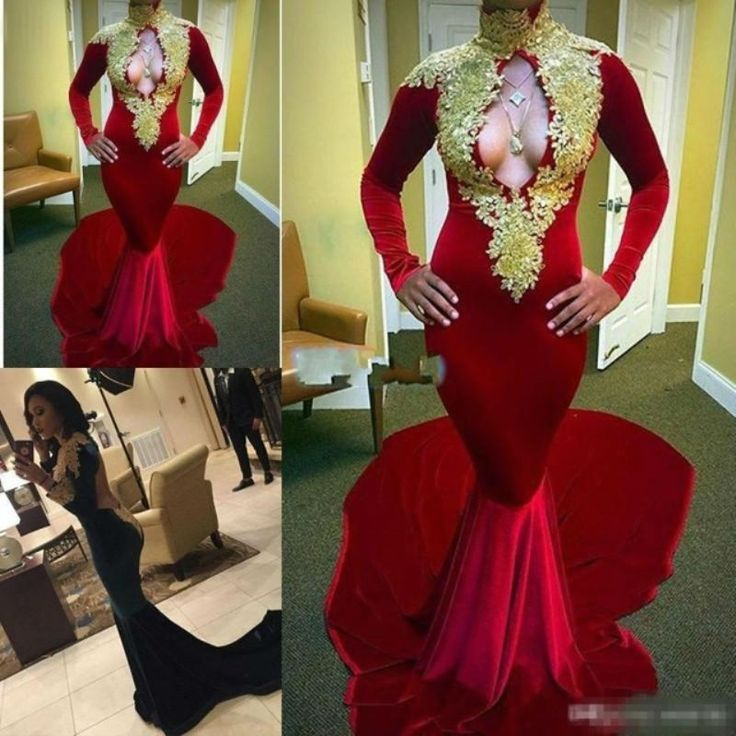 ==> [Free Shipping] Buy Best Sexy Evening Gowns Dresses Floor Length Illusion Red Lace Appliques Cut Out Back Mermaid Sheer Prom Dresses Champagne Online with LOWEST Price | 32723519200