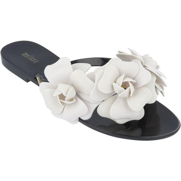Melissa Harmonic Garden Black Contrast (€53) ❤ liked on Polyvore featuring shoes, sandals, flip flops, melissa sandals, summer shoes, melissa footwear, flower flip flops and black flip flops