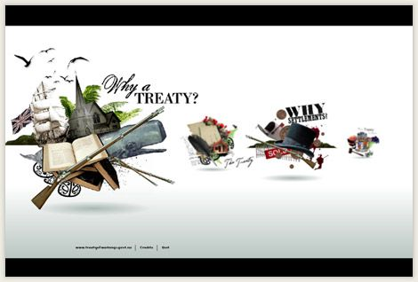 Interactive section includes a game where you try to stay in authority, exploring the Treaty through song and cartoons.