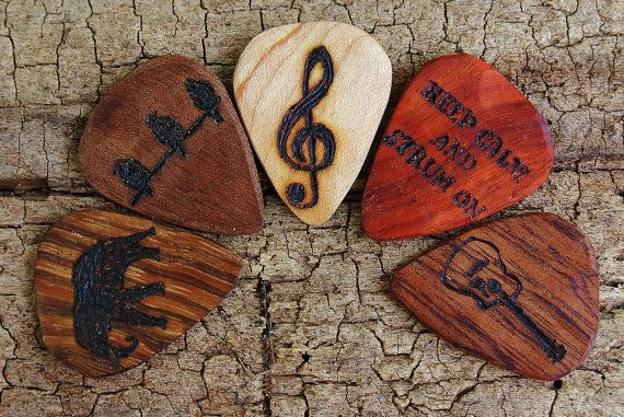 SALE: Buy 4 Get the 5th one FREE - Custom Wooden Guitar Picks - (Choose Wood Type and Design) on Wanelo
