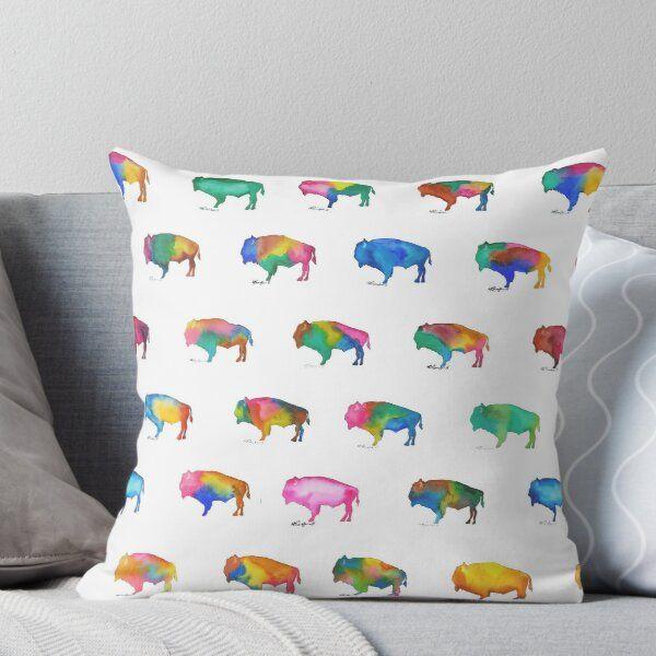 Pin By Kacey Halbison On Bison Throw Pillows Buffalo Print Printed Throw Pillows