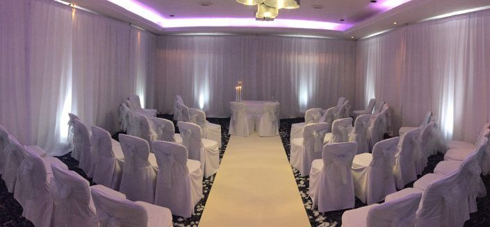 Solent Hotel & Spa – Drapes, Uplighters, Backdrop & Aisle Runner