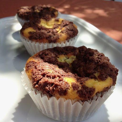 Zupfkuchenmuffins  Zutaten für den Teig 100 g Butter 100 g Zucker 20 g ungesüßtes Kakaopulver 150 g Mehl  1 TL Backpulver  Zutaten für die Füllung 2 Eier, Gr. M 100 g Zucker 100 g zerlassene Butter 200 g Magerquark  1/2 Pck. Puddingpulver Vanille 1/2 TL Zitronenabrieb  Backofen auf 175°C Unter-und Oberhitze oder 150°C Umluft vorheizen, ich backe lieber mit Unter-und Oberhitze. Papierförmchen im Muffinblech mit 12 Mulden auslegen, ich nehme immer zwei pro Mulde. Die Zutaten mit den Knethaken…