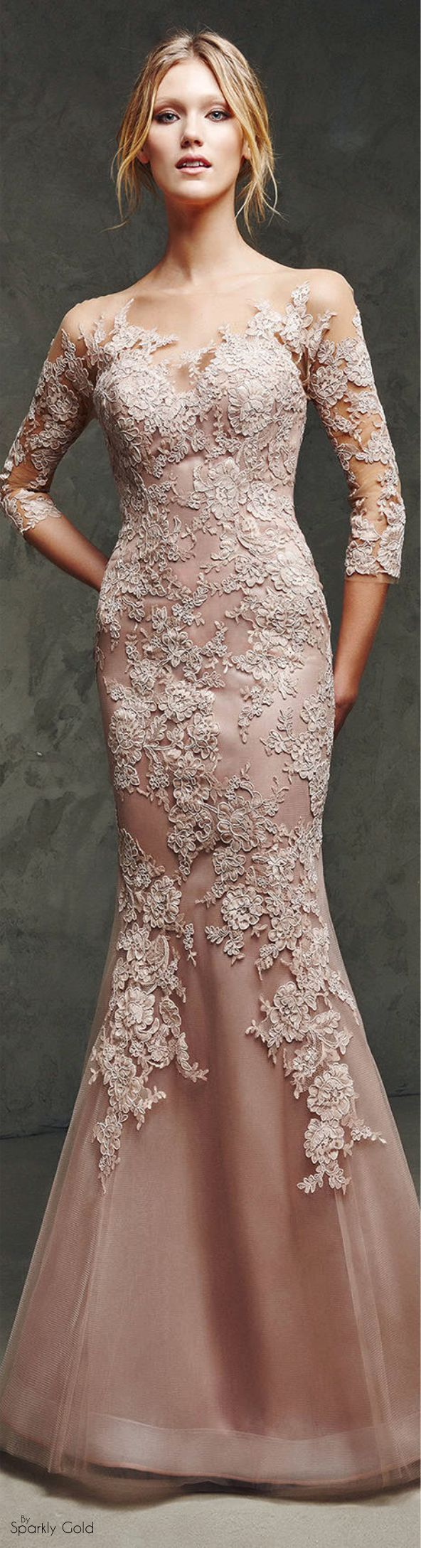 Pronovias 2016 lace maxi dress women fashion outfit clothing style apparel @roressclothes closet ideas