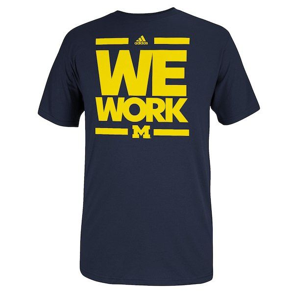 Adidas Michigan Wolverines We Work T Shirt Navy Blue Maize Football Shirt Designs Michigan Wolverines Michigan Apparel