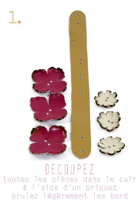 tuto bracelet en cuir à fleur et strass 1
