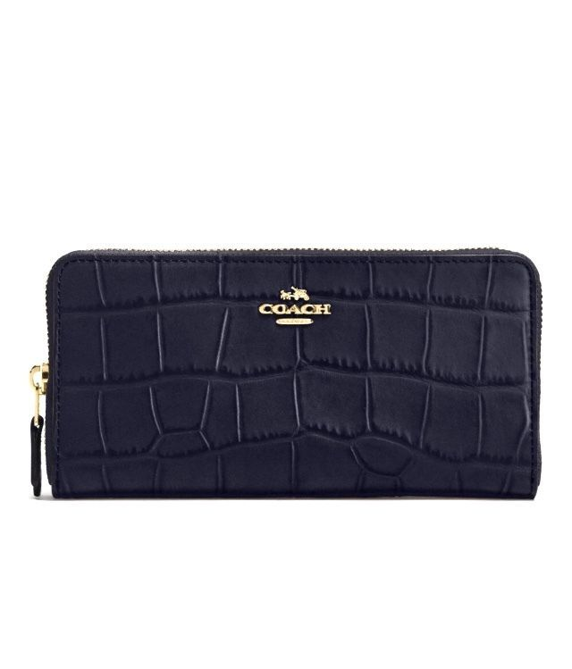 445cb83ed094 NWT COACH Accordion Zip Wallet CROC EMBOSSED MIDNIGHT BLUE LEATHER 54757   250 889532498451