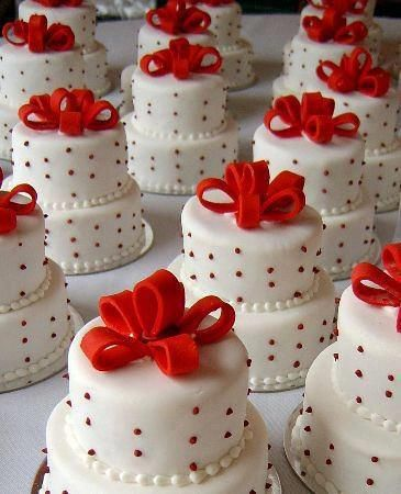 red and white mini cakes...