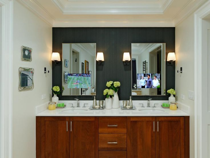 Vintage Technology meets functionality in a pair of bathroom mirrors with integrated TVs from iHome Integration