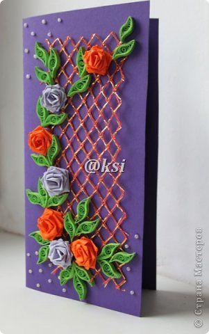 Открытка Квиллинг Баллада о розе — 4  Бисер Бумажные полосы Бусинки Сетка фото 5