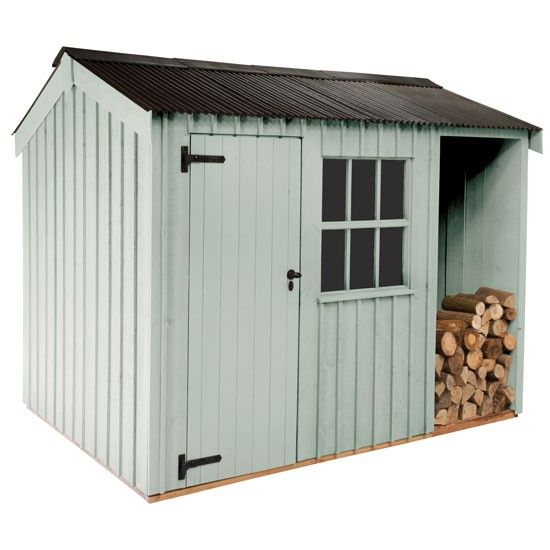 National Trust shed from John Lewis - inspired by outbuildings at National Trust properties, this shed w/ log store is made in Norfolk from FSC Scandinavian redwood, comes in six country colors; delivered & assembled by the supplier.   National Trust by Crane Blickling shed in Disraeli Green (H250 x W360 x D180cm), £2,290, John Lewis
