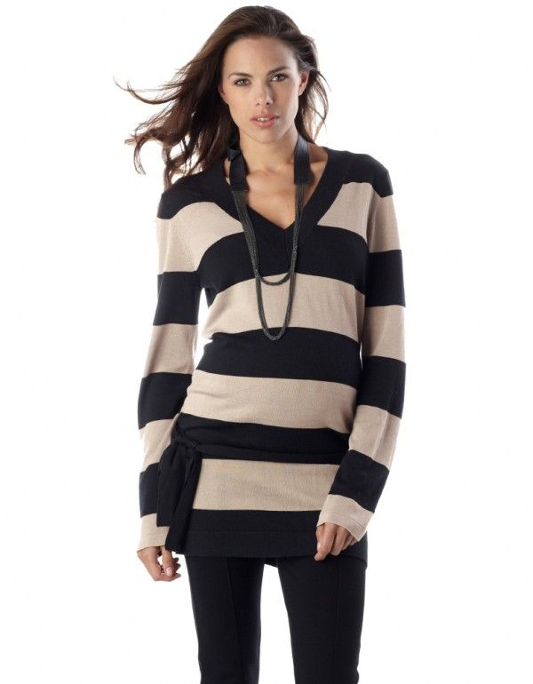 Sand Long Striped Maternity Jumper