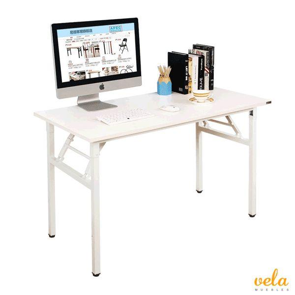 Mesa Plegable 120x60cm Mesa de Ordenador Escritorio de Oficina Mesa de Estudio Puesto de trabajo Mesas de Recepción Mesa de Formación, Blanco
