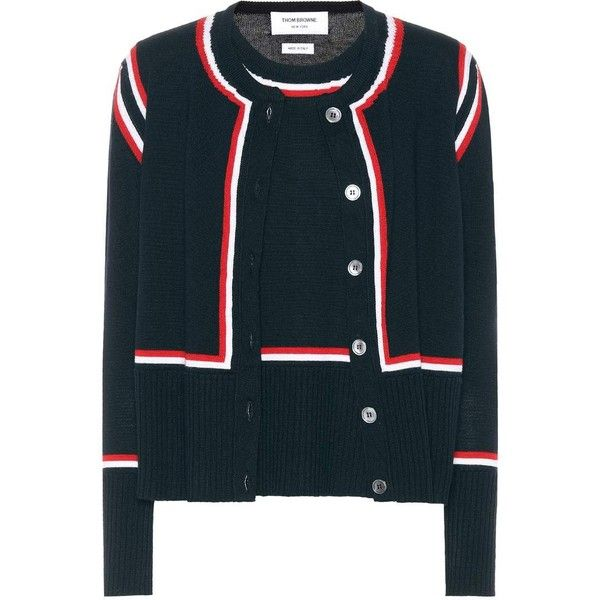 Thom Browne Striped Wool Cardigan ($1,650) ❤ liked on Polyvore featuring tops, cardigans, blue, knitwear, wool top, thom browne cardigan, stripe top, thom browne and blue top
