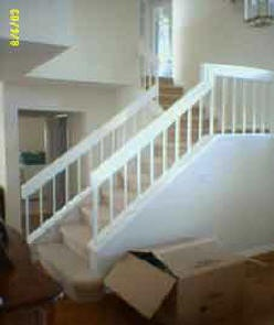 stairs on a pony wALL | Stairs is typical 1980's iron stair banister installed on wall (pony ...
