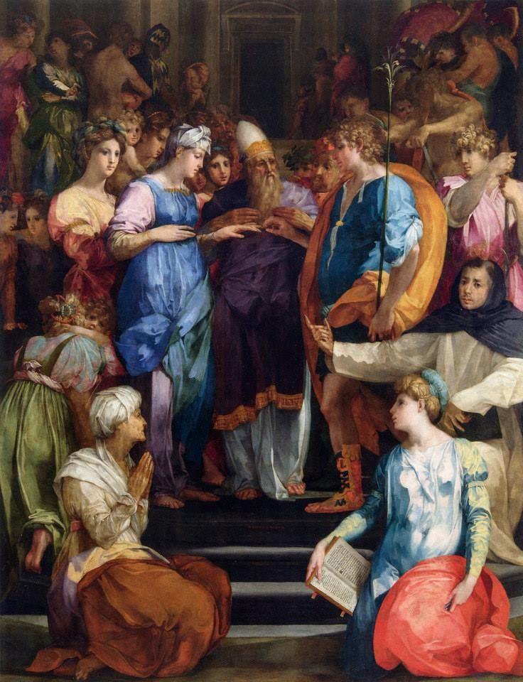 Giovanni Battista di Jacopo (Rosso Fiorentino), The Marriage of the Virgin, 1523 (via Musei Italiani on Facebook)