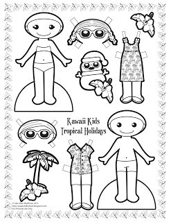 Kawaii Kids 2013: Tropical Holidays paper doll. Black and white paper doll to color.