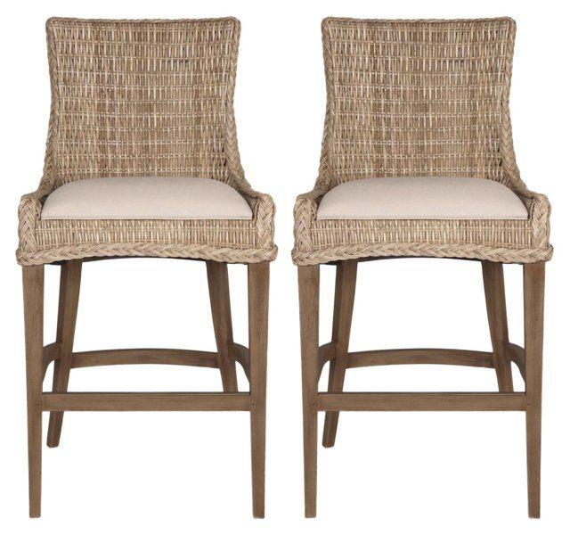 Gray Wicker Barstools, Pair in 2019 Wicker bar stools