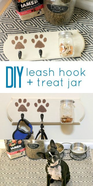 This DIY leash holder would make a perfect gift for any pet owner! I'm thinking Christmas gifts! #IAMSDog #IAMSVisibleDifference #ad -- Like Honey: DIY Leash Hook + Dog Treat Jar