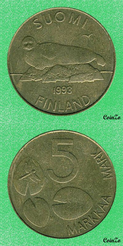 Ringed seal, Finland 5 Markka 1992-2001 Aluminium Bronze 5.5 g 24.5 mm KM-73