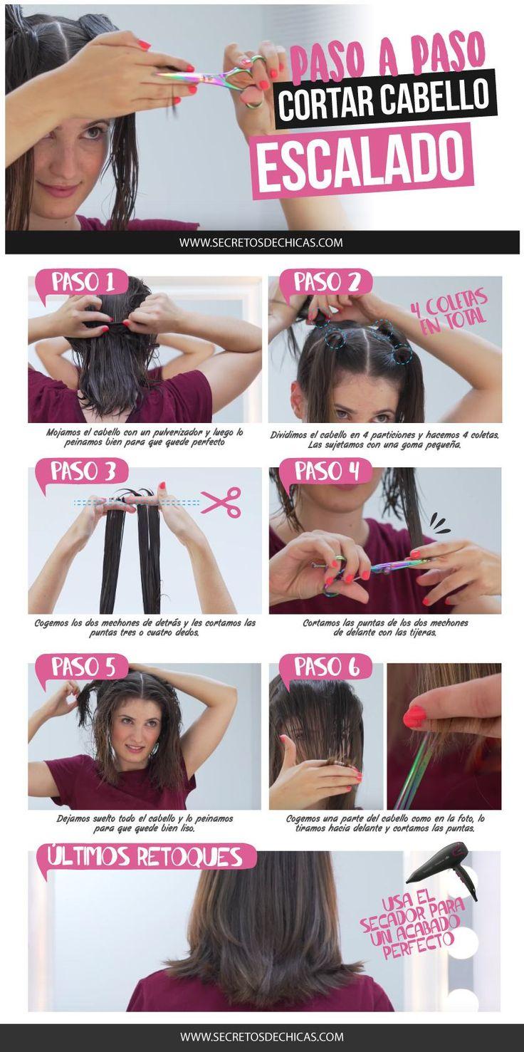 Corte de cabello escalado paso a paso :) Hoy os traigo un corte escalado paso a paso. Últimamente salió mucho por Pinterest este método.