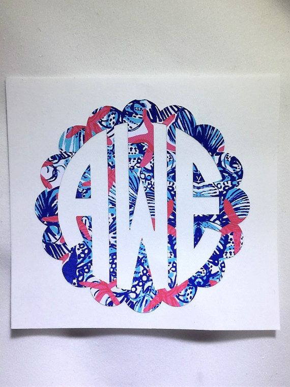 Lilly Pulitzer Monogram, Personalized Vinyl Decal for Car, Yeti, Computer, Planner or notebooks.  Custom Lilly Inspired Circle Monogram