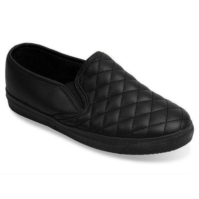 Pikowane Trampki Tenisowki Slip On 5077 Czarny Czarne Sneakers Trainers Women Womens Sneakers