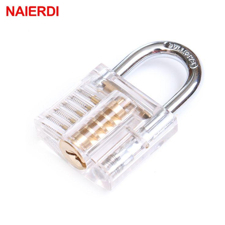 NAIERDI Beautiful Modern Style Transparent Visible Pick Cutaway Mini Practice View Padlock Lock Training Skill For Locksmith