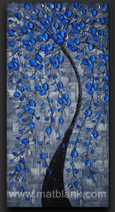 "#Cuadro a espátula, #Cuadro Moderno, ""Blue Tree"". #Tableau au coteau, #tableau moderne, ""Blue Tree"". http://www.matblank.com/Blue-Tree"