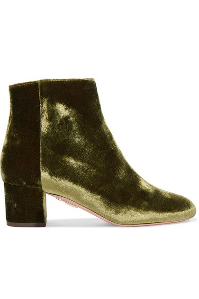 AQUAZZURA BROOKLYN VELVET ANKLE BOOTS 2 inches Sage velvet Zip fastening along side Designer color: Moss Green Made in Italy