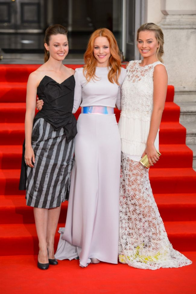 (Left to right) Lydia Wilson, Rachel McAdams and Margot Robbie arriving at the premiere of 'About Time' in Central London. Rachel totally steals the show.