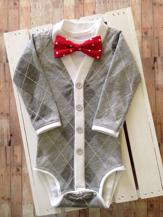 SALE Baby Cardigan Bodysuit with Bow Tie: Gray Argyle with Interchangeable Tie Shirt and Bow Tie