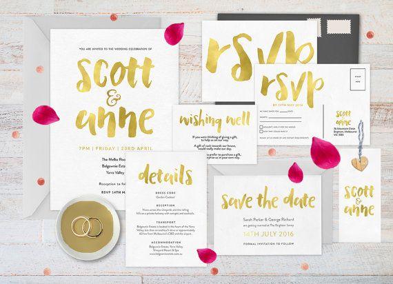 Gold wedding invitation set Wedding by ThePrintableShopcom on Etsy