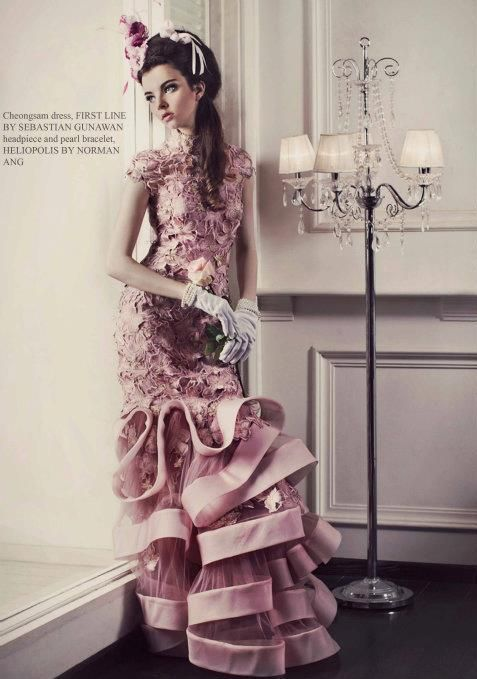 chenogsam dress, first line by sebastian gunawan. #wedding #bridal #gown #dress #pink