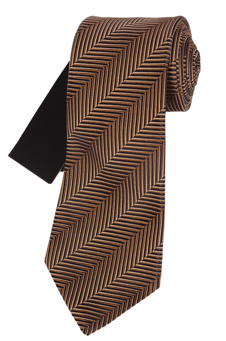 OZWALD BOATENG Hand Made Taupe 3D Effect Striped Silk Classic Tie NEW