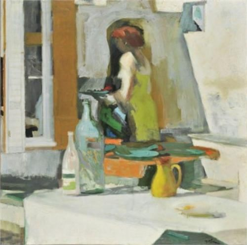 Composition with girl and still life - Panayiotis Tetsis
