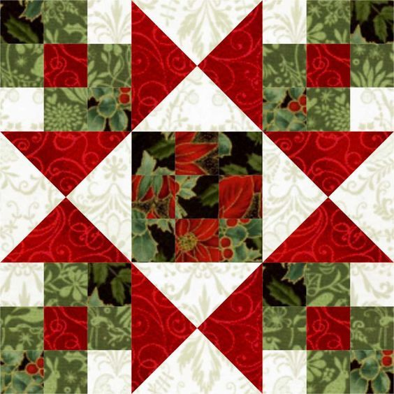 If each corner unit is a 9-patch, one large block of this for the center of a Christmas quilt would be pretty.