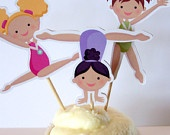 Gymnastics Party - Set of 36 Assorted Gymnast Cupcake Toppers by The Birthday House