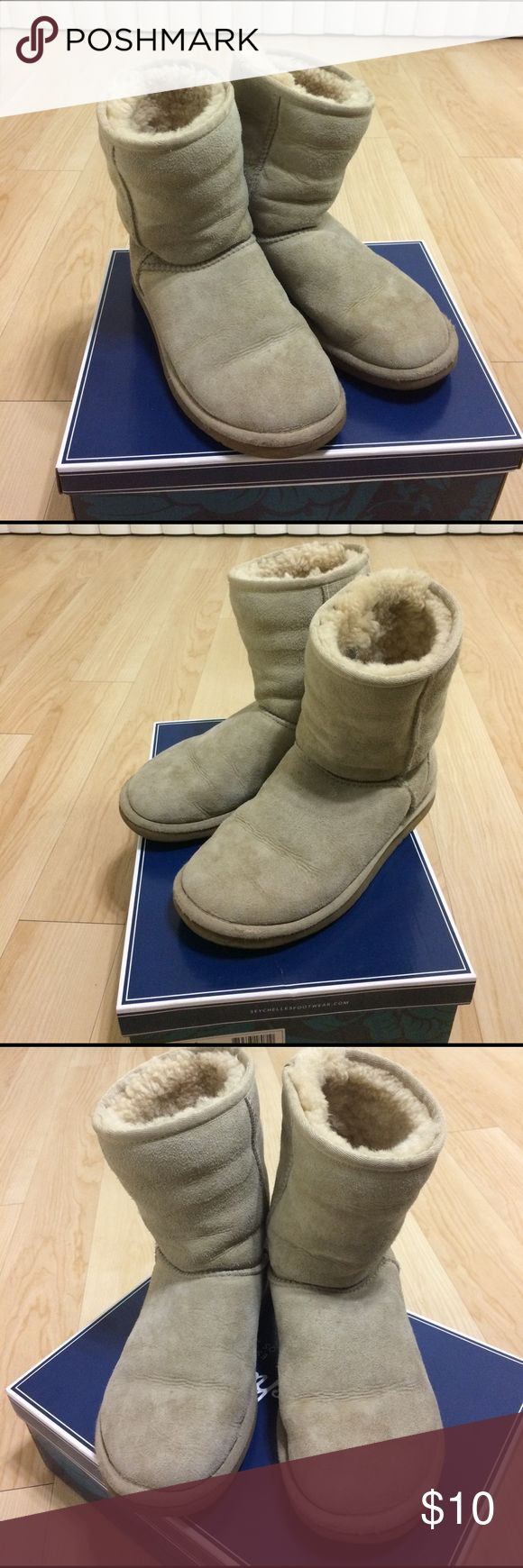 UGG Classic Short Boots UGG Classic Short Boots. Color is Sand. These boots have been through rain and snow, so the exterior is definitely not like new! ☔️☃️❄️ However, it is definitely still wearable! UGG Shoes Winter & Rain Boots