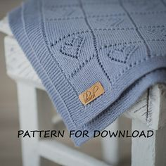Punto bebé manta patrón, punto para bebés, corazón bebé manta patrón, patrón de punto bebé manta patrón PDF